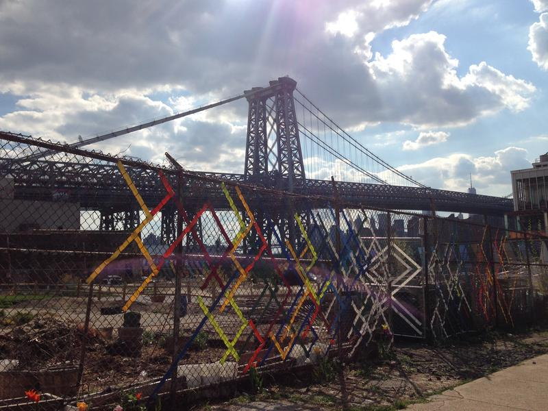 Fence weaving art in Havemeyer Park in South Williamsburg