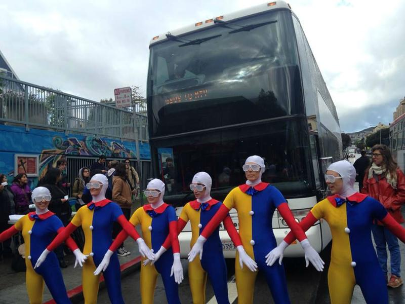 A costumed protest against San Francisco's Google buses