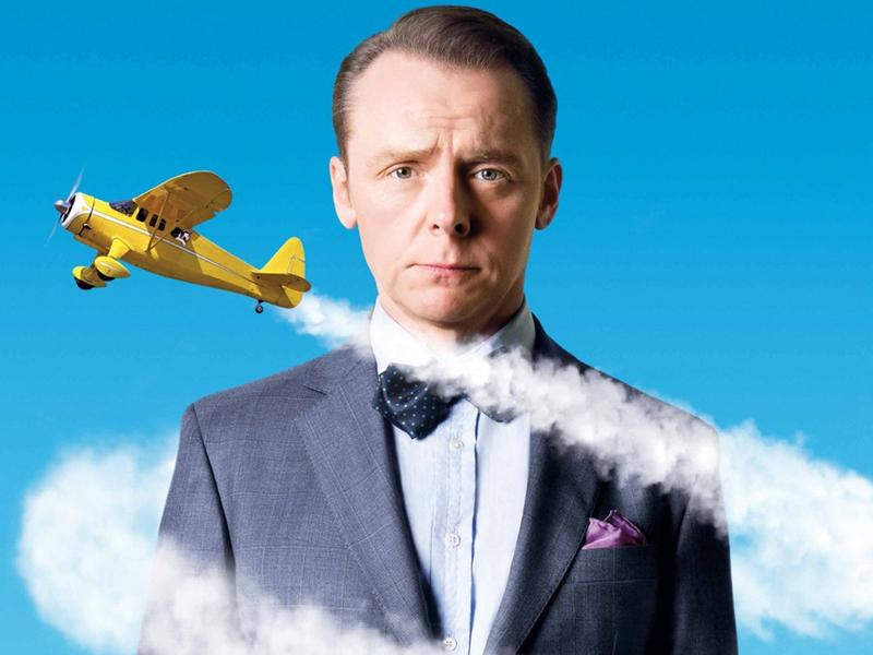 "A promotional image for Simon Pegg's new film, ""Hector and The Search for Happiness."""