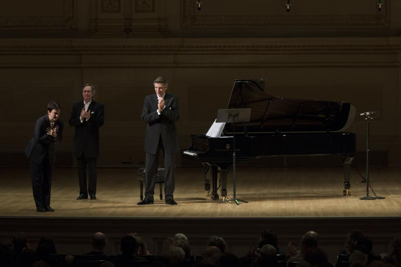 "Jennifer Higdon taking a bow after the world premiere of ""Civil Words"" at Carnegie Hall on February 9, 2015"