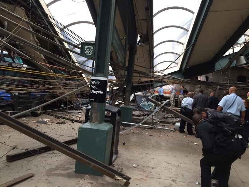 Structural damage is seen at the train station in Hoboken, N.J., after a New Jersey Transit commuter train crashed into the station during the morning rush hour, Thursday, Sept. 29, 2016.