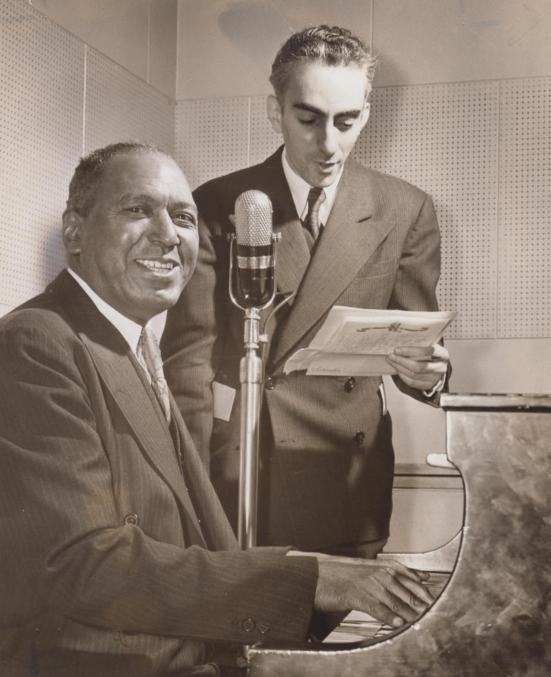 Boogie woogie man Charles 'Cow Cow' Davenport with WNYC jazz host Art Hodes in June, 1942.