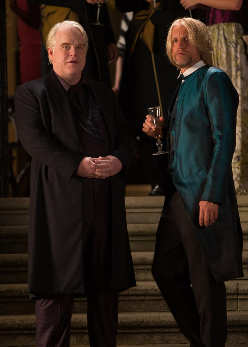 (Left to right) Philip Seymour Hoffman and Woody Harrelson in <em>The Hunger Games: Catching Fire</em>