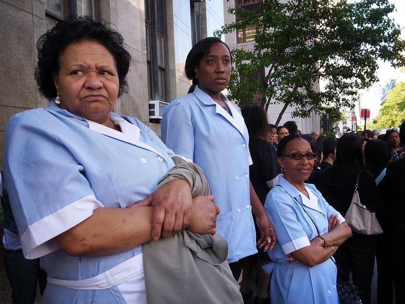 Housekeepers and hotel maids protesting in New York City.