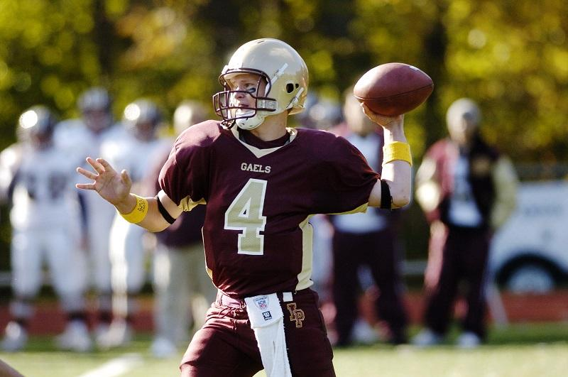 Sean Mara, junior quarterback for the Iona Prep Gaels, passes during a game against the Msgr. Farrell High School Lions at Iona Prep's campus in New Rochelle, N.Y.
