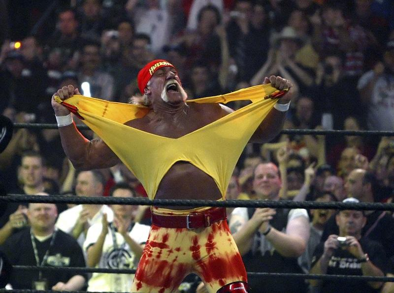 In this April 3, 2005, file photo, Hulk Hogan fires up the crowd between matches during WrestleMania 21 in Los Angeles.