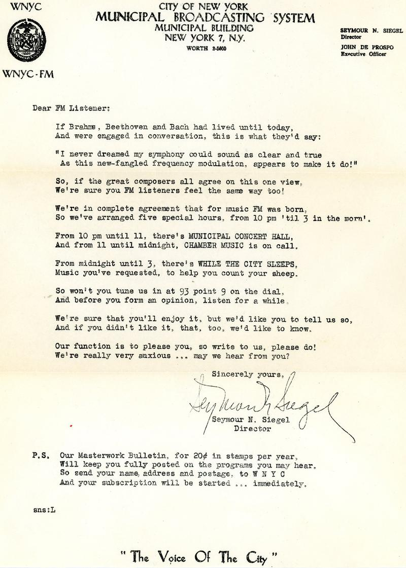 WNYC Promotional letter and poem by Seymour N. Siegel circa 1950.