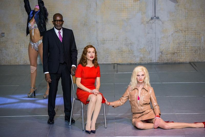 "Rosalba Torres Guerrero, Alex Descas, Isabelle Huppert and Agata Buzek in ""Phaedra(s)"" at BAM."