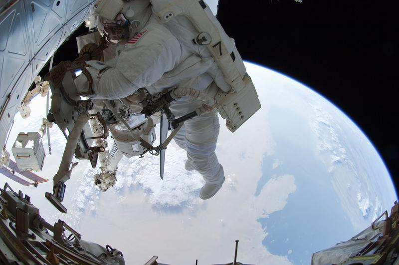 Ron with his feet over Saudi Arabia on the last spacewalk of the Space Shuttle era, July 12, 2011