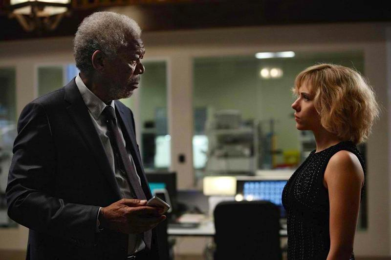 "Actors Morgan Freeman and Scarlett Johansson in the upcoming film ""Lucy."""