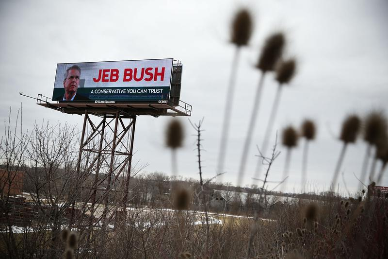 A campaign billboard for Republican presidential candidate Jeb Bush, as seen in January 2016 in Des Moines, Iowa.