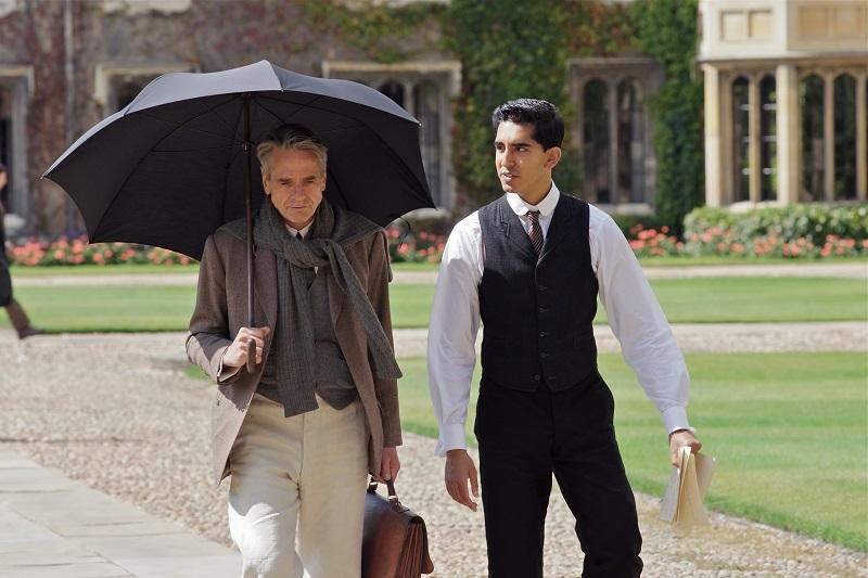 Hardy (Irons) and Ramanujan (Patel) walk through the Quad at Trinity College, Cambridge in Matthew Brown's THE MAN WHO KNEW INFINITY.