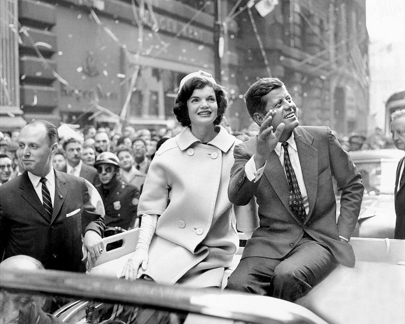 Democratic presidential nominee John F. Kennedy and his wife, Jacqueline, ride up Broadway in a ticker-tape parade.