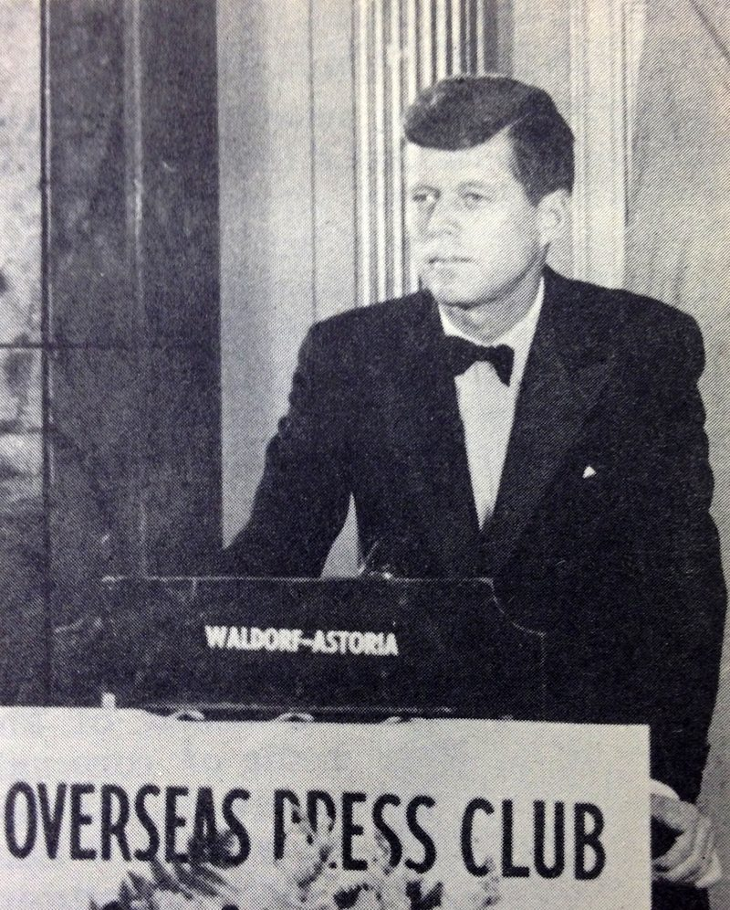 Senator John F. Kennedy at the Overseas Press Club award ceremony in 1957.