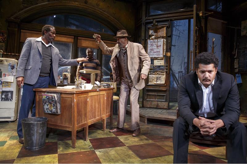 "August Wilson's ""Jitney"" (L to R): John Douglas Thompson as ""Becker,"" Michael Potts as ""Turnbo,"" Anthony Chisholm as ""Fielding,"" & Brandon Dirden as ""Booster"""