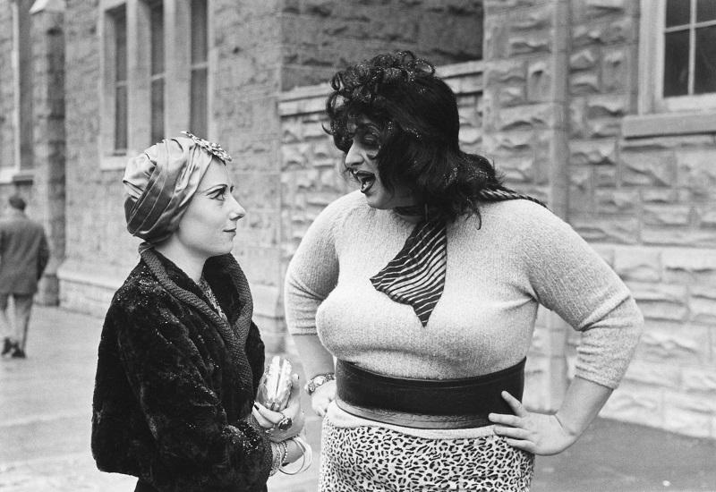 "Still from ""Multiple Maniacs,"" (left) Mink Stole as Mink, Divine as Lady Divine. Directed by John Waters."