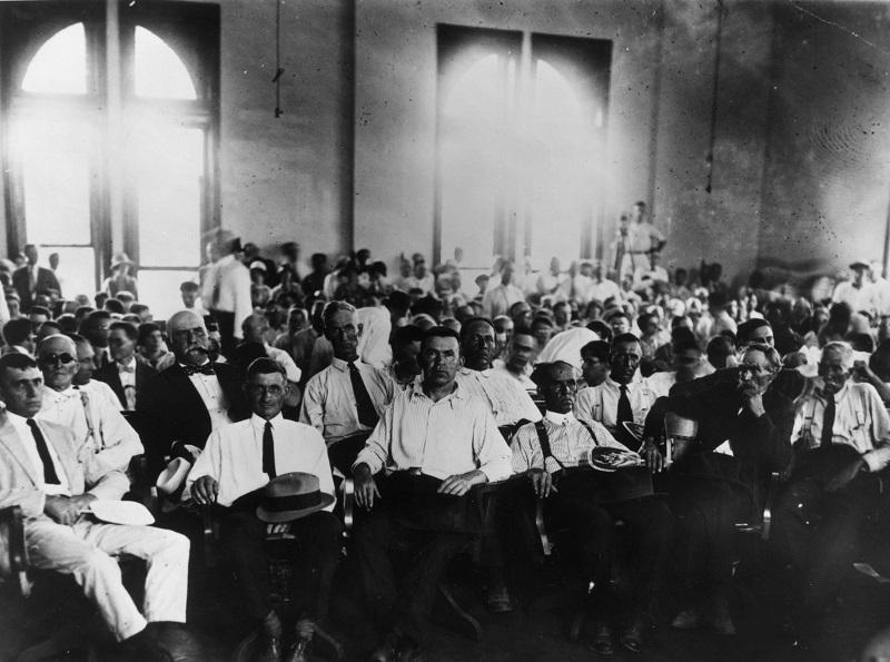 Jury in the Scopes trial also known as the 'Monkey trial' when Professor John Scopes was tried for teaching Darwinian evolution theory in Dayton, Tennessee.