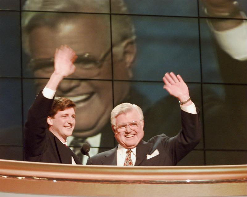 Patrick and Ted Kennedy at the podium on the last night of the DNC convention in Chicago.