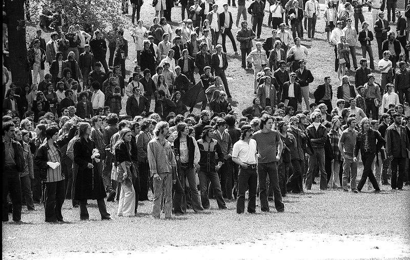 View of students, at the base of Blanket Hill, during an anti-war demonstration at Kent State University, Kent, Ohio, May 4, 1970. Shortly after this shot was taken, four students were shot and killed