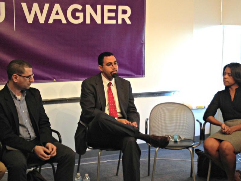 State education commissioner John King spoke with teachers after giving a speech at NYU on Thursday.