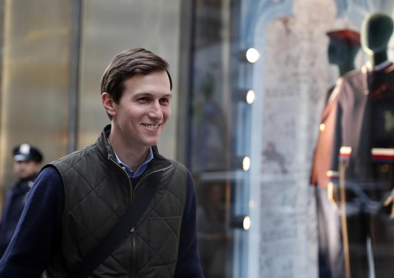 Jared Kushner, son-in-law of of President-elect Donald Trump walks from Trump Tower, Monday, Nov. 14, 2016, in New York.
