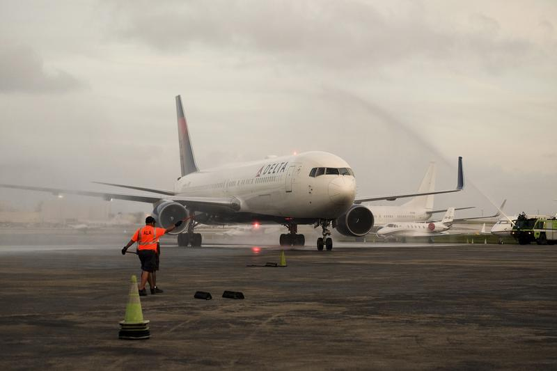 A plane arrives at Ft. Lauderdale Airport, the site of a shooting on Friday.