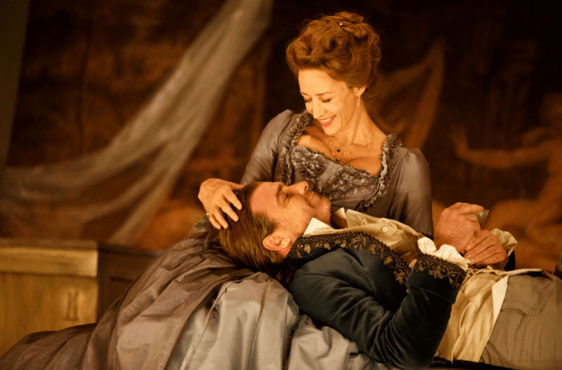 "Janet McTeer and Liev Schreiver in the Donmar Warehouse production of ""Les Liaisons Dangereuses"""