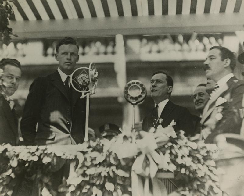 Col. Charles Lindbergh with Mayor James J. Walker and Grover Whalen at City Hall, June 13, 1927.