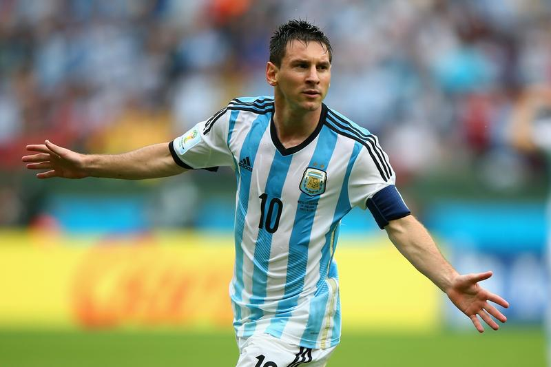Lionel Messi of Argentina celebrates scoring his second goal during the 2014 FIFA World Cup Brazil Group F match against Nigeria at Estadio Beira-Rio on June 25, 2014 in Porto Alegre, Brazil.