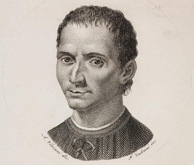 Portrait of Niccolo Machiavelli (1469-1527), engraving by F Zuliani from a drawing by Antonio Viviani, from Notizie su la commedia italiana avanti Carlo Goldoni, Part 2, 1828, by Luigi Carrer.