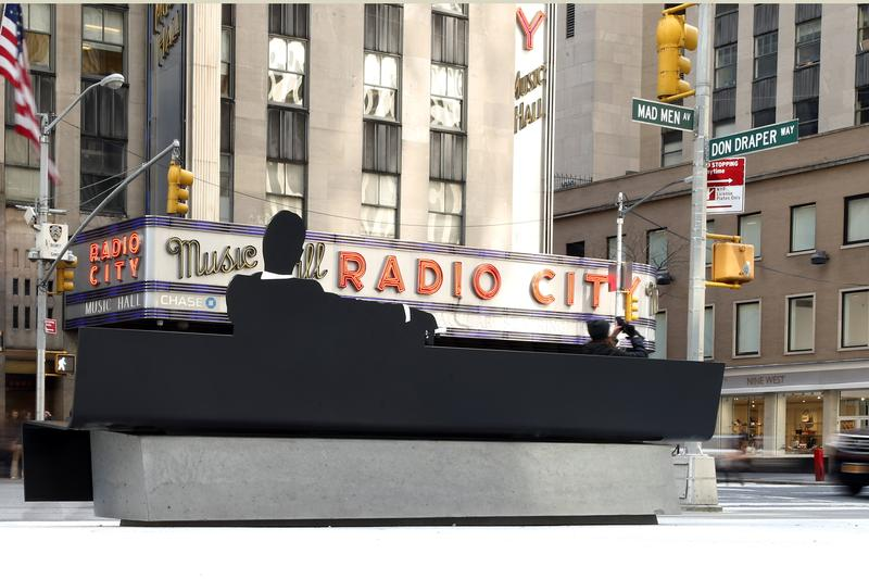 THE DRAPER BENCH, a semi-permanent art installation at the Time & Life Plaza, 1271 Avenue of the Americas, home of Sterling Cooper & Partners in the iconic series at Time & Life Building.