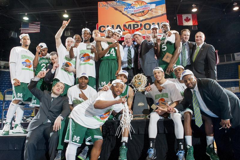 The Manhattan College Jaspers after their 2014 MAAC Championship win.