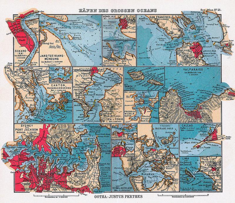 Häfen des Grossen Oceans (German map of seaports in the Pacific Ocean)