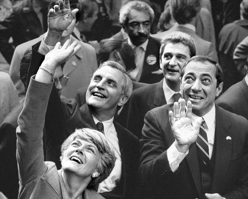 Walter Mondale, Geraldine Ferraro and Gov. Mario Cuomo at the Columbus Day Parade, October, 1984.