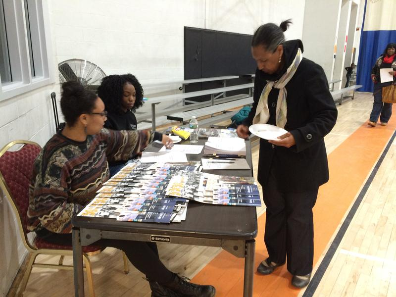 Newark resident Marisa Bell participates in a city-wide survey of residents' interactions with Newark police