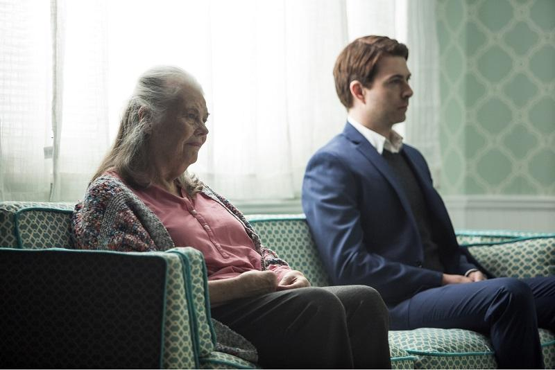 Pictured (left to right): Lois Smith and Noah Bean in a scene from the Playwrights Horizons New York premiere production of Marjorie Prime, a new play by Jordan Harrison, directed by Anne Kauffman.