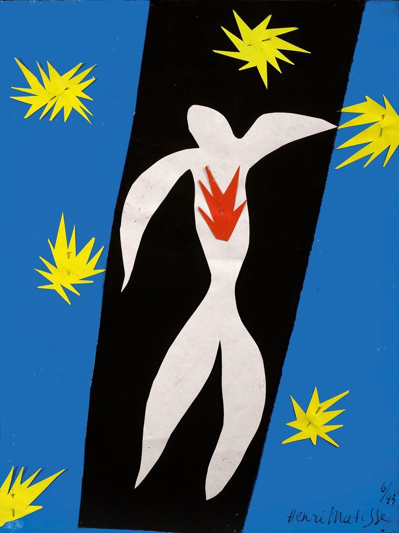 "Henri Matisse (French, 1869-1954). The Fall of Icarus (La Chute d'Icare), 1943. Gouache on paper, cut and pasted, and pins. 13 2/4 x 10 5/8"" (35 x 27 cm)."