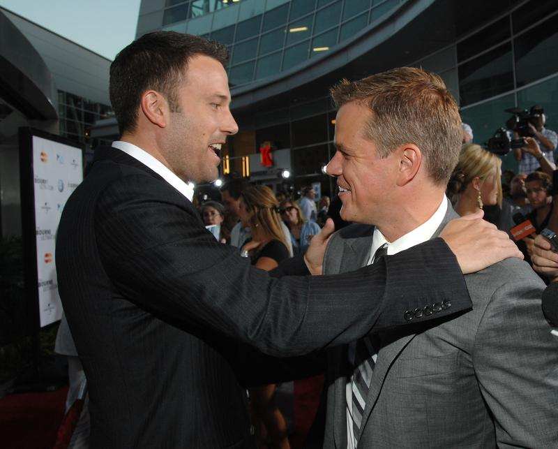 Actors Ben Affleck and Matt Damon arrive to the Los Angeles Premiere of 'The Bourne Ultimatum' at the Arclight Theater in Hollywood, California.