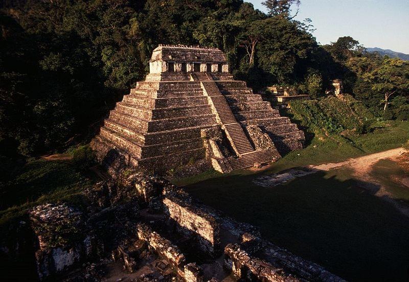 Temple of the Inscriptions, ca 675, Palenque (UNESCO World Heritage List, 1987), Chiapas, Mexico. Mayan civilisation, 7th century.