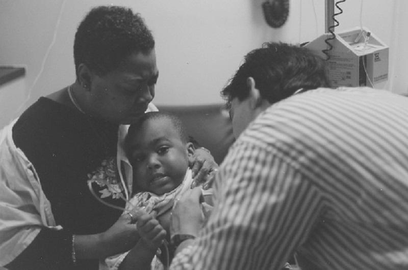 African-American baby at a hospital, 1993.