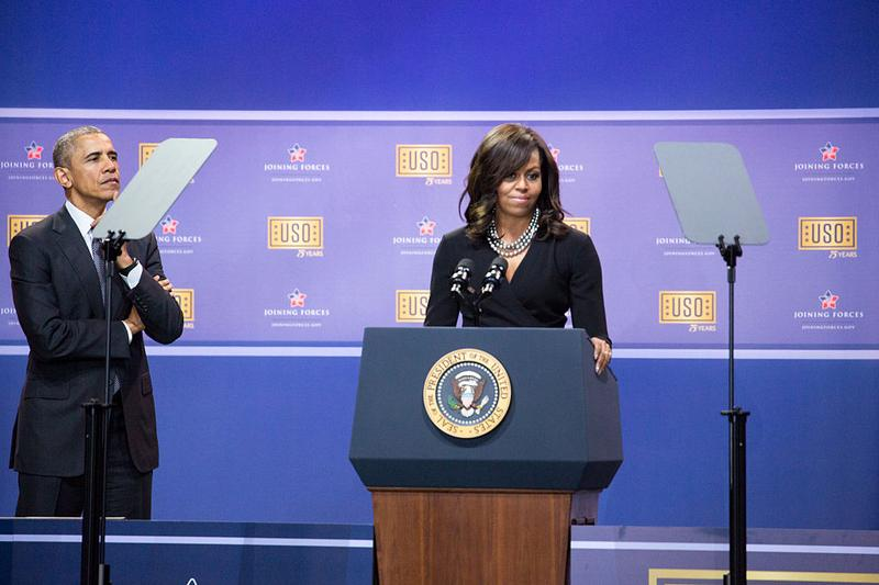 Joint-Base Andrews On Thursday, May 5 in a hangar at Joint-Base Andrews, l-r, President Barack Obama, and First Lady Michelle Obama, kick off a USO comedy show celebrating Military Appreciation Month