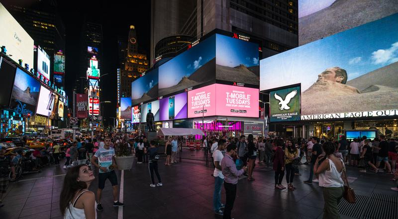 Musician and composer Jherek Bischoff's Cistern, a video from his latest album, plays in Times Square's electronic billboards from 11:57 p.m. to midnight every night in August.