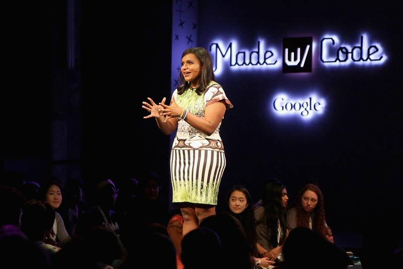 "Actress Mindy Kaling turns on the charm during ""Google's Made With Code"" event to inspire girls to code."