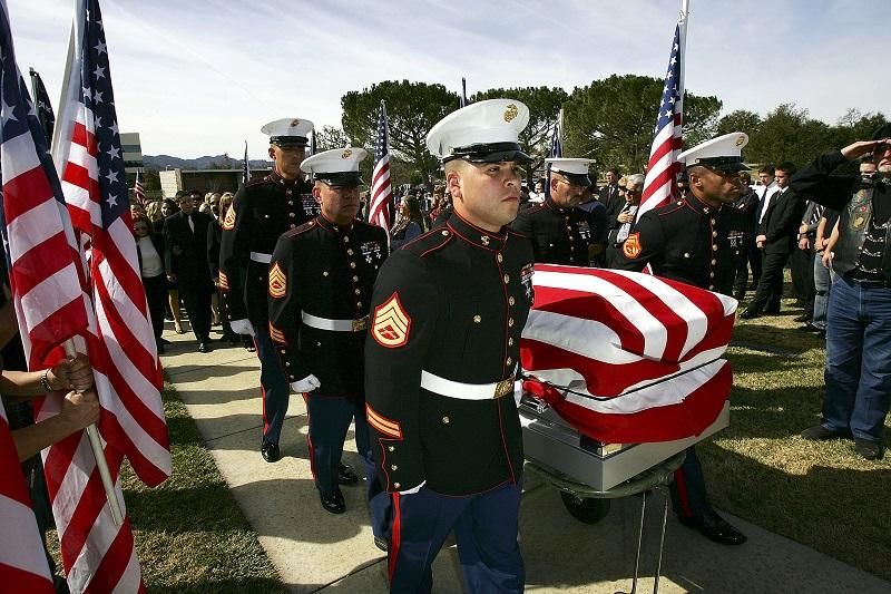 U.S. Marines carry the casket at a memorial service for U.S. Marine Lance Cpl. Anthony Melia on February 5, 2007 in Westlake Village, California. Melia was killed in combat in Al Anbar province.