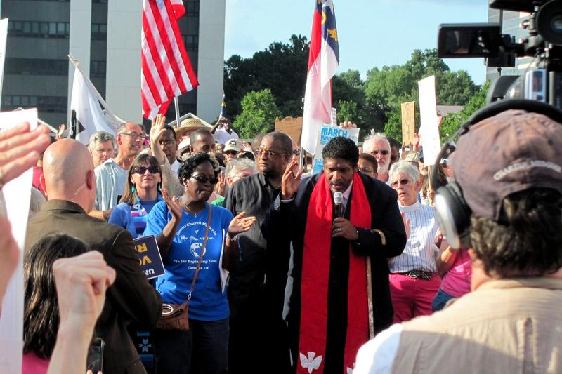 Reverend Dr. William Barber at a Moral Mondays event in Raleigh, South Carolina.