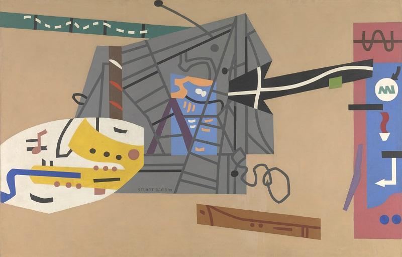 Stuart Davis (1892–1964), Mural for Studio B, WNYC, Municipal Broadcasting Company, 1939. Oil on canvas, 84 x 132 in. (213.4 x 335.3 cm).