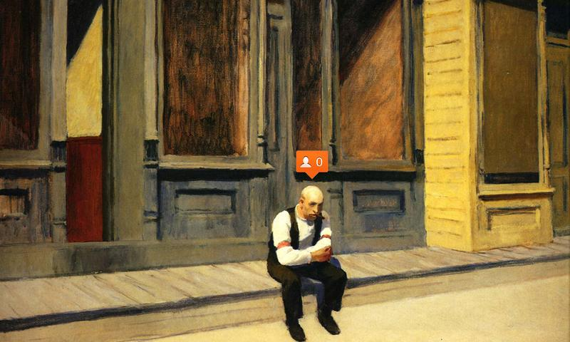 Nastya Nudnik places social media icons and emojis in works of art, like Edward Hopper's <em>Sunday</em> (1926)