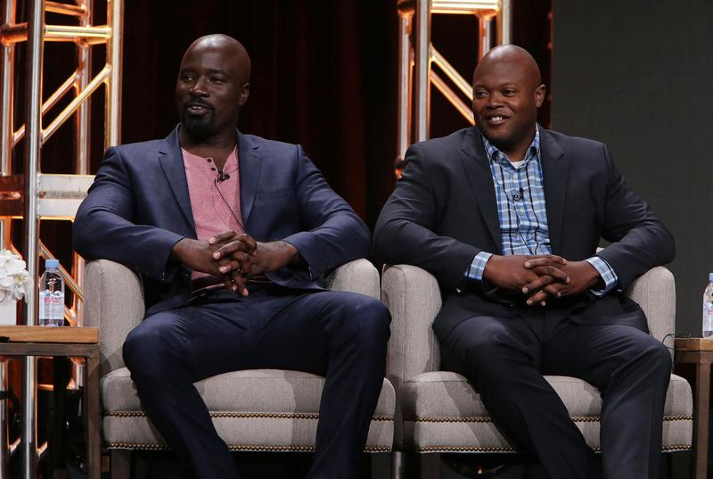 """Actor Mike Colter and Executive Producer Cheo Hodari Coker speak on a panel for """"Marvel's Luke Cage"""" at Netflix 2016 Summer TCA on July 27, 2016, in Los Angeles."""