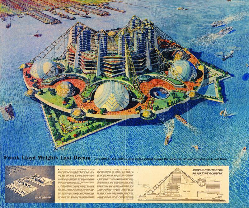 Frank Lloyd Wright's design for Ellis Island.