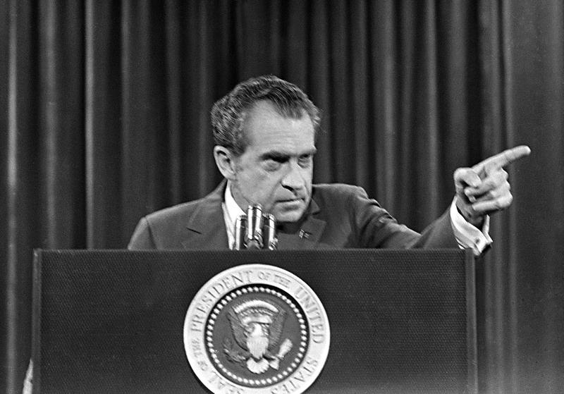 President Richard Nixon answers questions during a televised press conference at Walt Disney World in Orlando, Fla., Nov. 17, 1973.